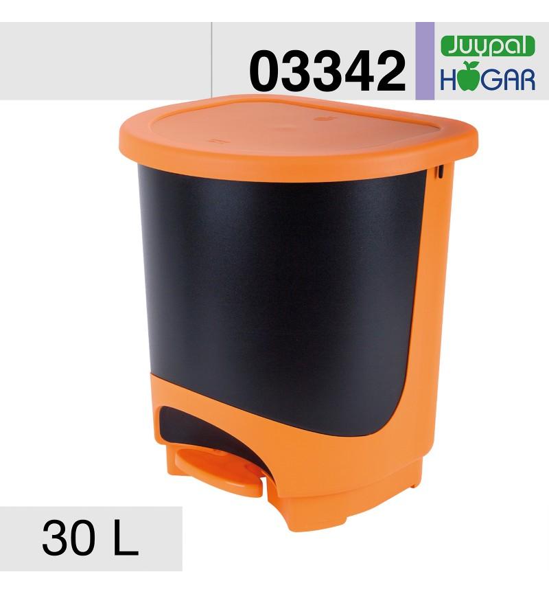 Pedálos szemetes 30l narancs-fekete