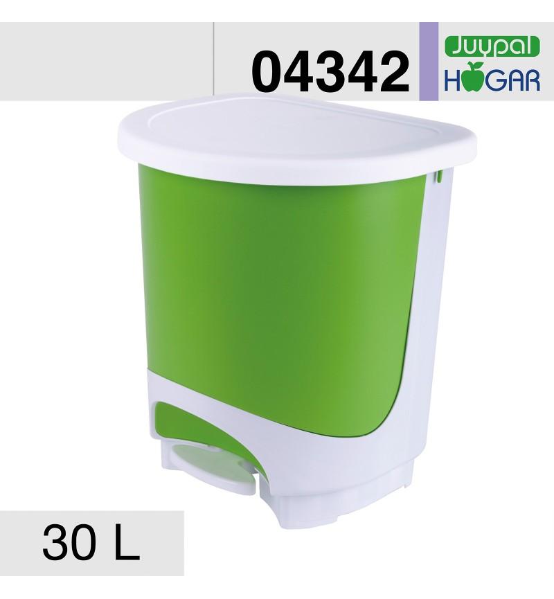 Pedálos szemetes 30l zöld-fehér